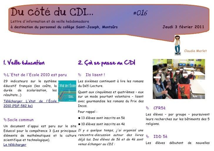 Du côté du CDI...                                                            #016    Lettre dinformation et de veille hebd...