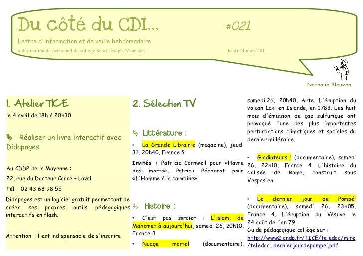 Du côté du CDI...                                                                      #021    Lettre dinformation et de v...
