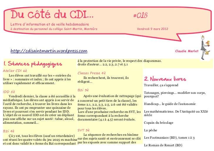 Du côté du CDI...                                                                            #018     Lettre dinformation ...