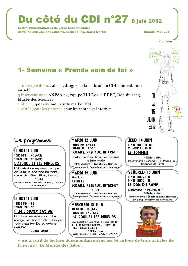 Du côté du CDI n°27                                            8 juin 2012Lettre dinformation et de veille hebdomadairedes...