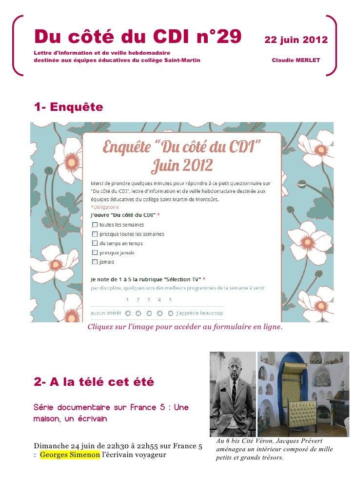 Du côté du CDI n°29                                                      22 juin 2012Lettre dinformation et de veille hebd...
