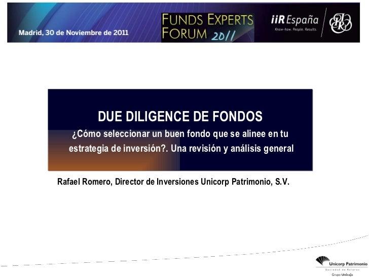 Due Diligence Selección de Fondos de Inversión