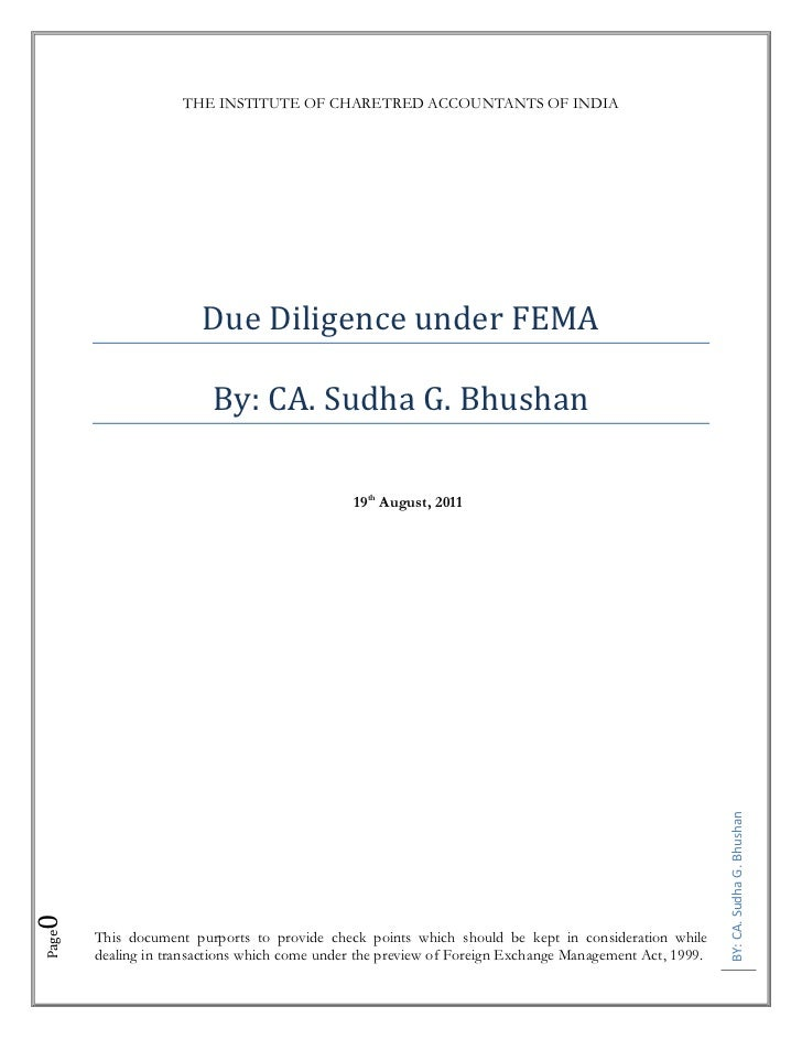 THE INSTITUTE OF CHARETRED ACCOUNTANTS OF INDIA                       Due Diligence under FEMA                         By:...