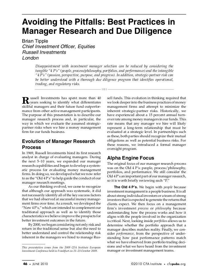 Tipple.fm Page 46 Monday, May 17, 2010 3:16 PM           Avoiding the Pitfalls: Best Practices in           Manager Resear...