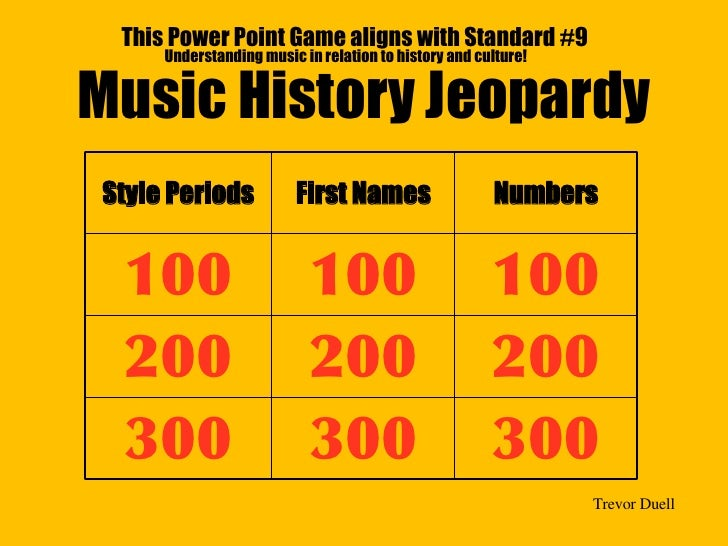 Music History Jeopardy This Power Point Game aligns with Standard #9 Understanding music in relation to history and cultur...
