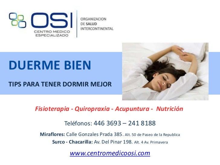 Duerme bien: Tips y Consejos Saludables