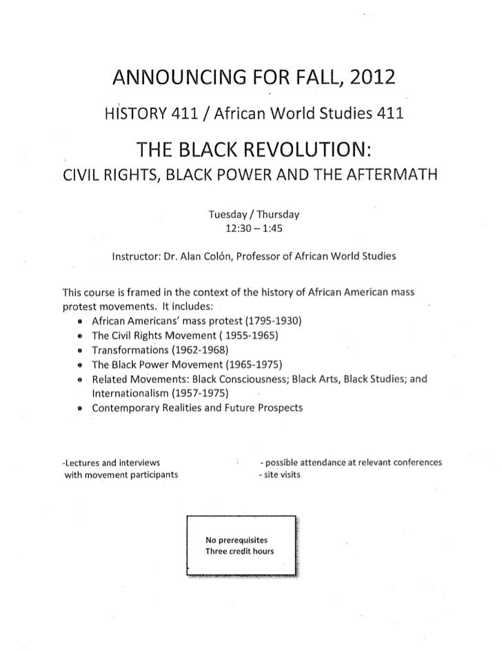 DU Fall 2012 New Course The Black Revolution Dr. A. Colon