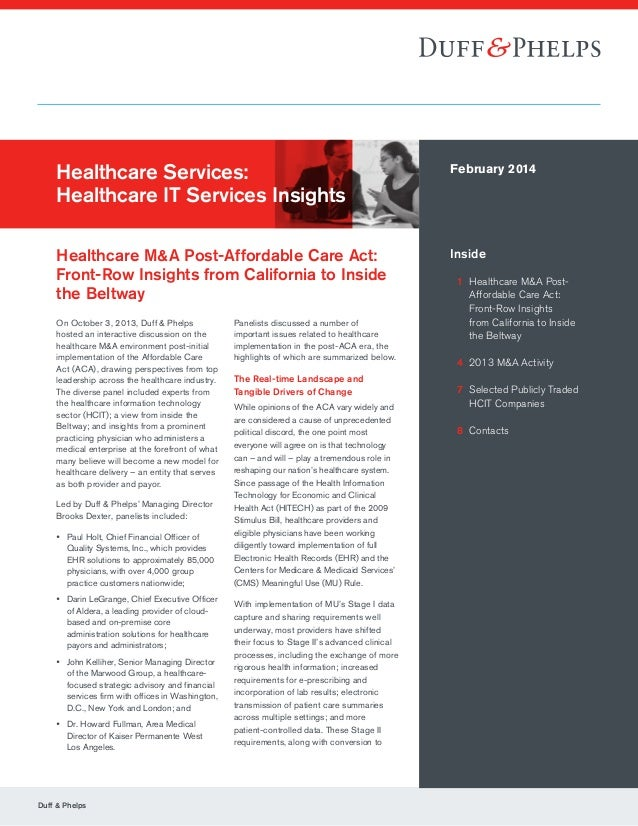 Duff & Phelps Healthcare Services: Healthcare IT Services Insights Healthcare M&A Post-Affordable Care Act: Front-Row Insi...