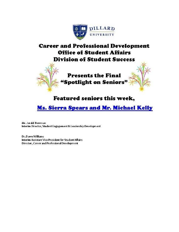 DU Final Spotlight on Seniors 2012 Sierra Spears and Michael Kelly Spr2012