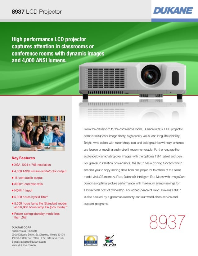 8937 LCD ProjectorHigh performance LCD projectorcaptures attention in classrooms orconference rooms with dynamic imagesand...