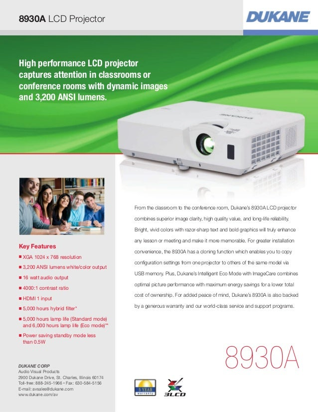 High performance LCD projector captures attention in classrooms or conference rooms with dynamic images and 3,200 ANSI lum...
