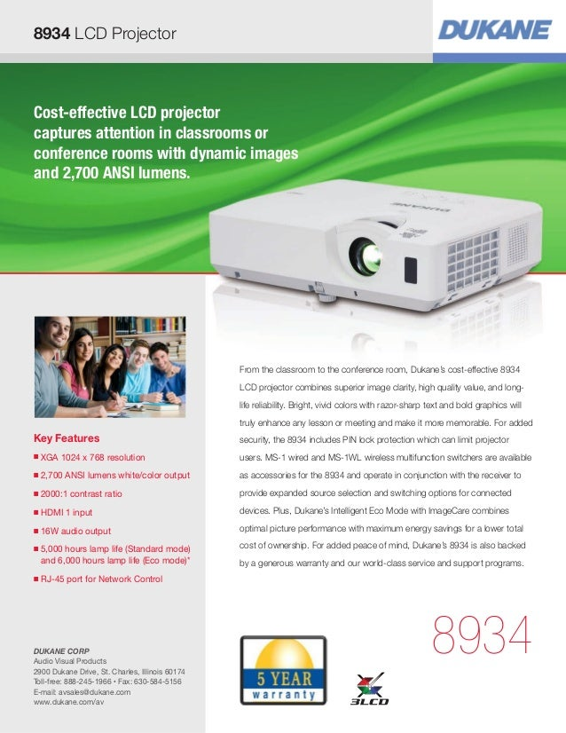 8934 LCD Projector  Cost-effective LCD projector captures attention in classrooms or conference rooms with dynamic images ...