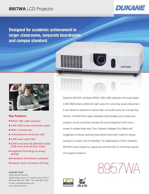 Key Features ■ WXGA 1280 x 800 resolution ■ 4,000 ANSI lumens white/color output ■ 3000:1 contrast ratio ■ Horizontal and ...