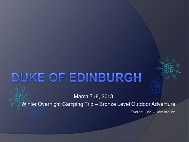 March 7+8, 2013Winter Overnight Camping Trip – Bronze Level Outdoor Adventure                                            E...
