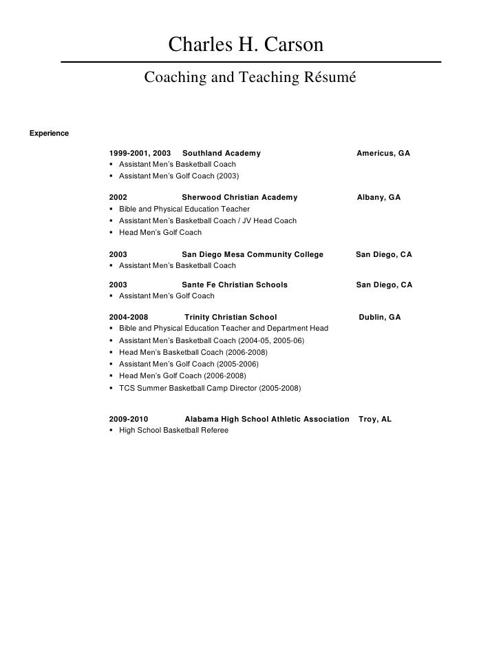 pin basketball coach resume coaching resumes