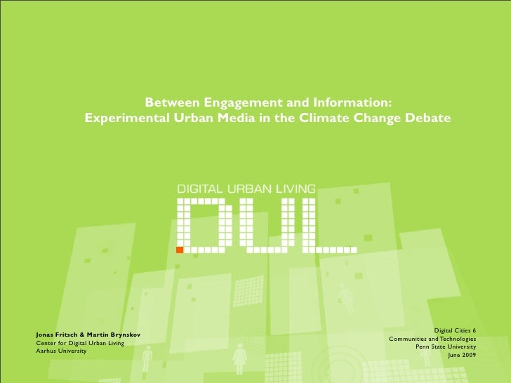 Between Engagement and Information:               Experimental Urban Media in the Climate Change Debate                   ...