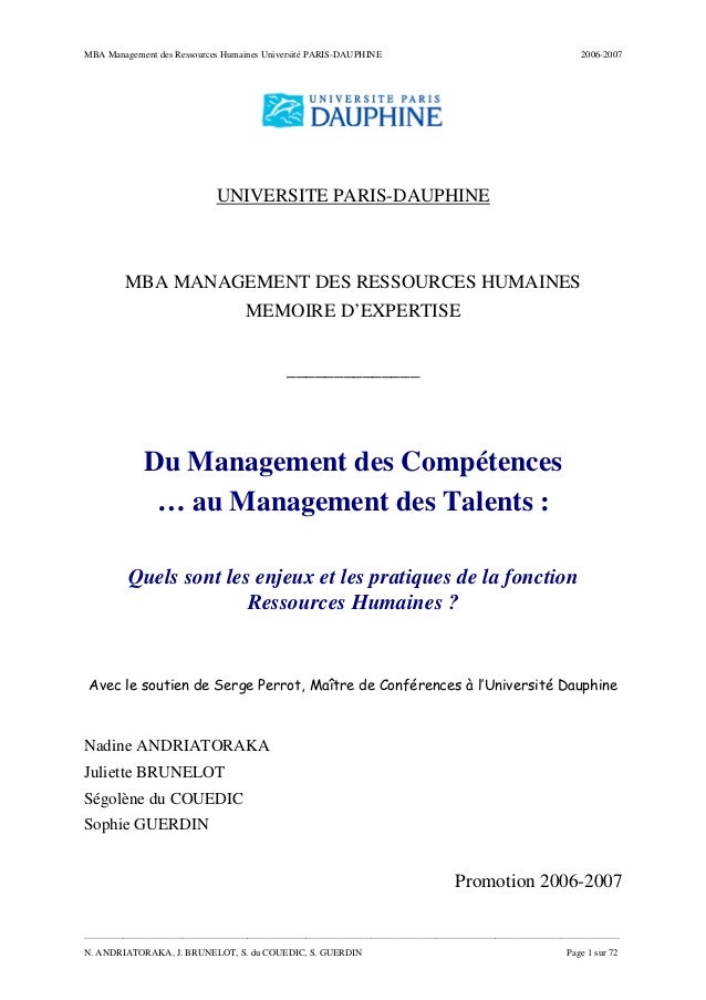 MBA Management des Ressources Humaines Université PARIS-DAUPHINE 2006-2007 _______________________________________________...