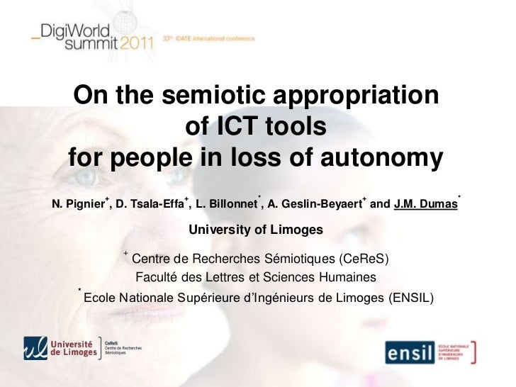On the semiotic appropriation             of ICT tools   for people in loss of autonomy           +               +       ...