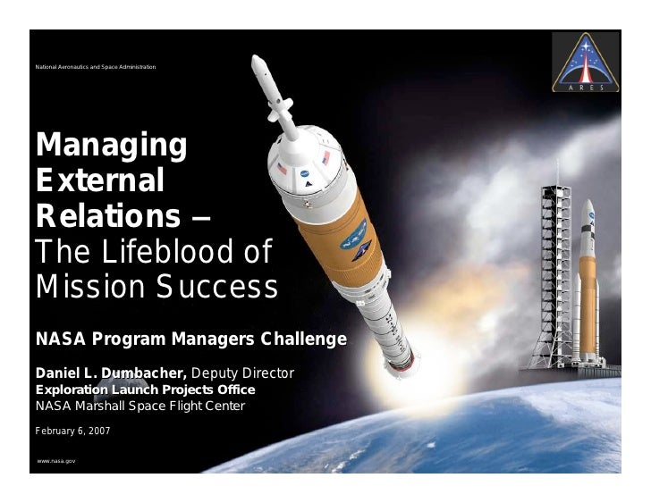 National Aeronautics and Space AdministrationManagingExternalRelations –The Lifeblood ofMission SuccessNASA Program Manage...
