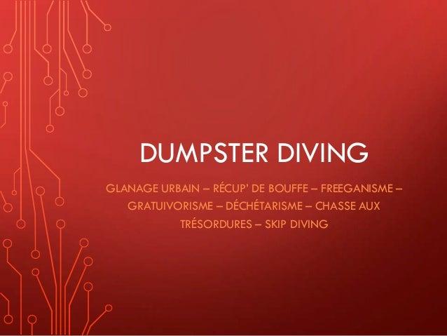 DUMPSTER DIVING GLANAGE URBAIN – RÉCUP' DE BOUFFE – FREEGANISME – GRATUIVORISME – DÉCHÉTARISME – CHASSE AUX TRÉSORDURES – ...