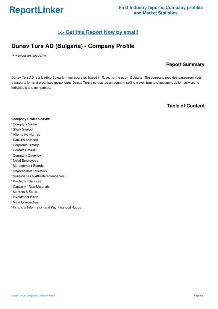 Dunav Turs AD (Bulgaria) - Company Profile