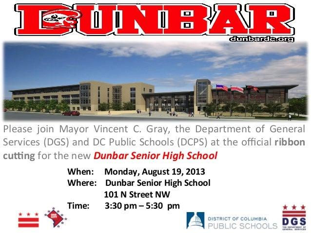Official Announcement of Dunbar Senior High School Ribbon Cutting Ceremony