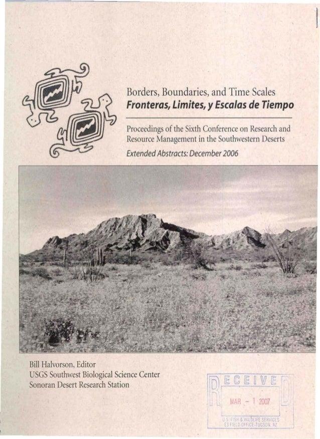 Borders, Boundaries, and Time Scales Fronteras, Limites, y Escalas de Tiempo Proceedings of the Sixth Conference on Resear...
