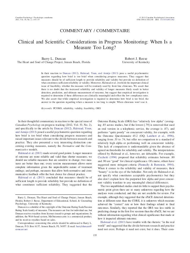 COMMENTARY / COMMENTAIRE Clinical and Scientific Considerations in Progress Monitoring: When Is a Measure Too Long? Barry ...