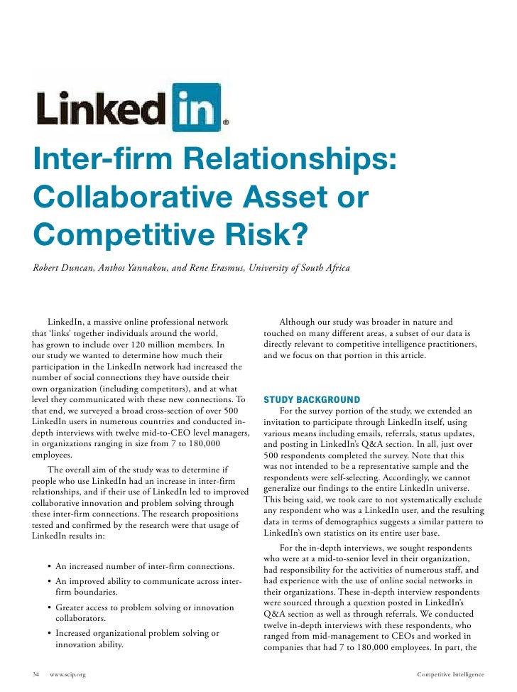 Inter-firm Relationships:Collaborative Asset orCompetitive Risk?Robert Duncan, Anthos Yannakou, and Rene Erasmus, Universi...