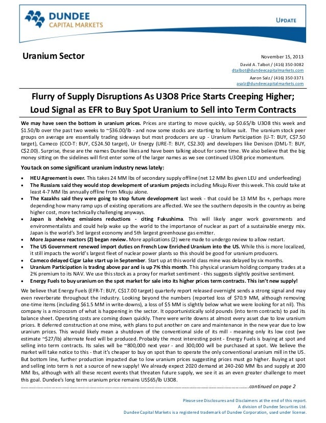 Report:  Dundee Capital Markets - Uranium