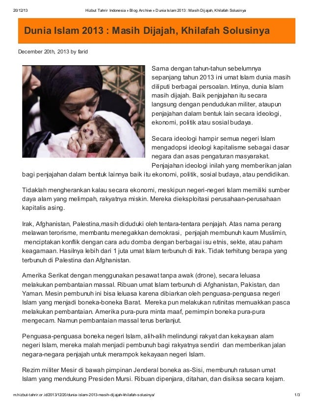 20/12/13  Hizbut Tahrir Indonesia » Blog Archive » Dunia Islam 2013 : Masih Dijajah, Khilafah Solusinya  Dunia Islam 2013 ...