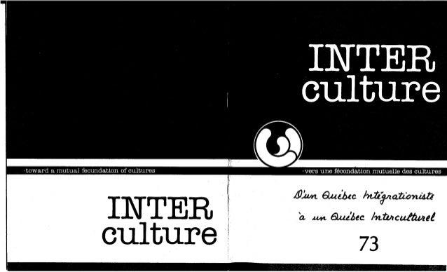 73-D'un Québec intégrationiste à un Québec interculturel. R. Vachon. (document à télécharger en format PDF, 1,3Mb).