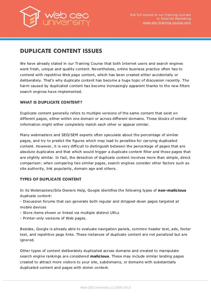 Internet : Duplicate content issues