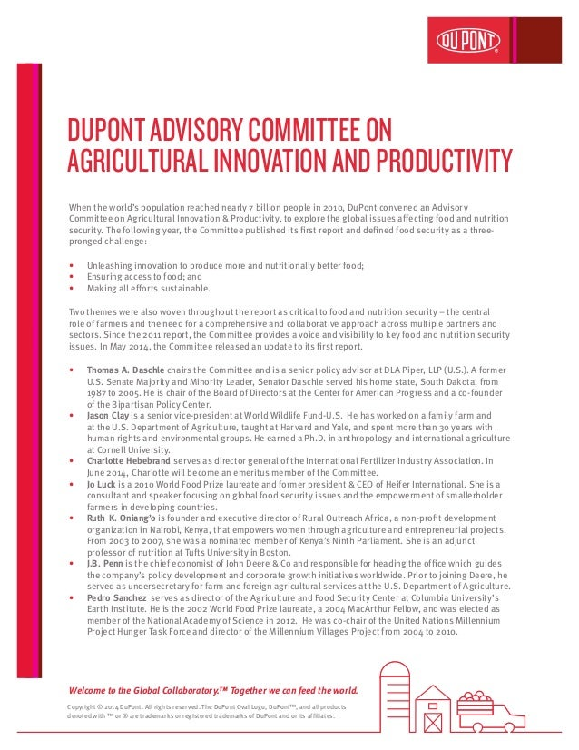 DuPont Advisory Committee on Agriculture Innovation and Productivity Fact Sheet