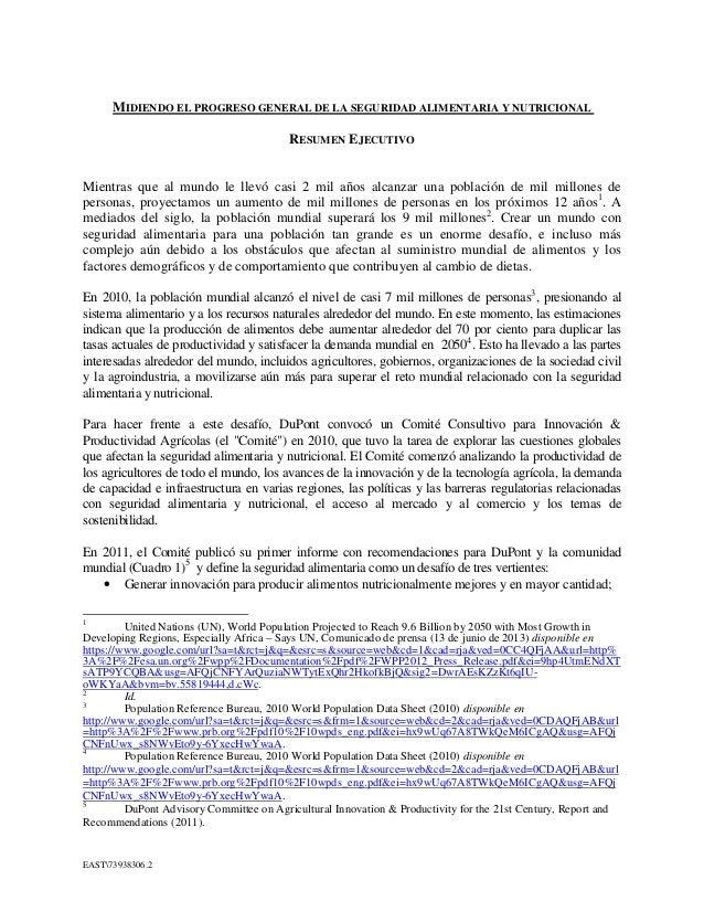 EAST73938306.2 MIDIENDO EL PROGRESO GENERAL DE LA SEGURIDAD ALIMENTARIA Y NUTRICIONAL RESUMEN EJECUTIVO Mientras que al mu...