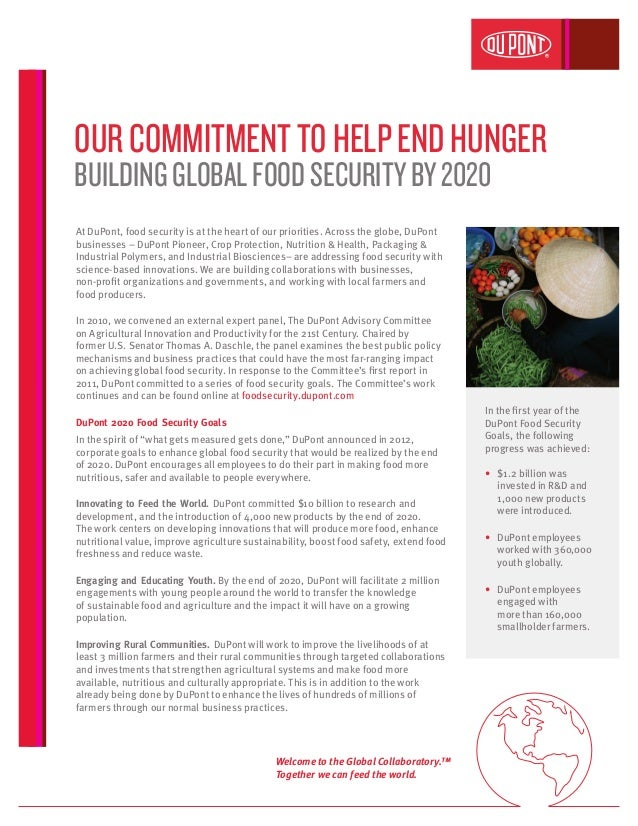 At DuPont, food security is at the heart of our priorities. Across the globe, DuPont businesses – DuPont Pioneer, Crop Pro...