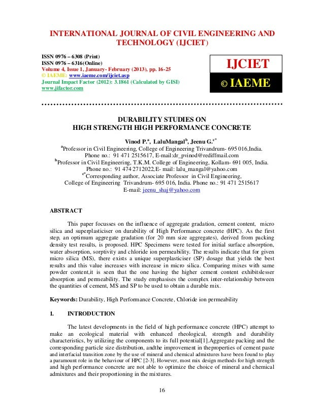 Durability studies on high strength high performance concrete 2