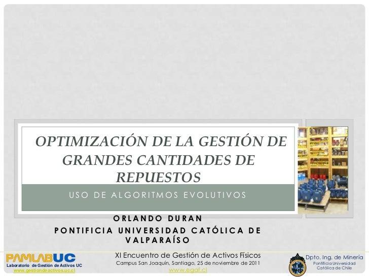 OPTIMIZACIÓN DE LA GESTIÓN DE                GRANDES CANTIDADES DE                      REPUESTOS                         ...
