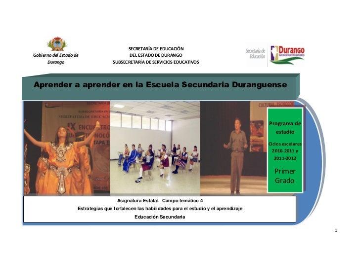 SECRETARÍA DE EDUCACIÓNGobierno del Estado de                      DEL ESTADO DE DURANGO      Durango                     ...