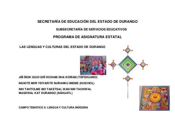 SECRETARÍA DE EDUCACIÓN DEL ESTADO DE DURANGO                       SUBSECRETARÍA DE SERVICIOS EDUCATIVOS                 ...