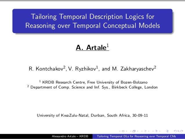 Tailoring Temporal Description Logics for Reasoning over Temporal Conceptual Models A. Artale1 R. Kontchakov2, V. Ryzhikov...