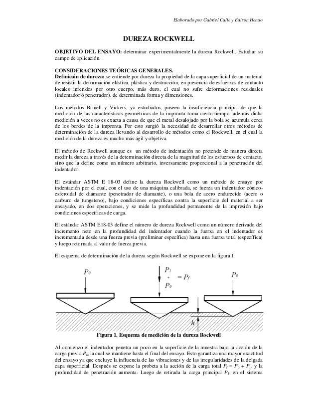 Elaborado por Gabriel Calle y Edison HenaoDUREZA ROCKWELLOBJETIVO DEL ENSAYO: determinar experimentalmente la dureza Rockw...