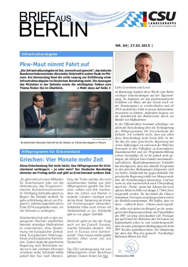 Infrastrukturabgabe NR. 04| 27.02.2015 | Liebe Leserinnen und Leser, im Bundestag standen diese Woche eine Reihe wichtiger...