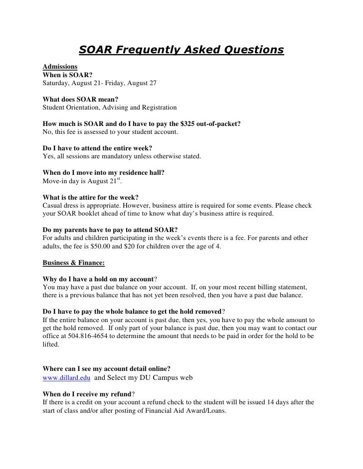 DU SOAR Frequently Asked Questions