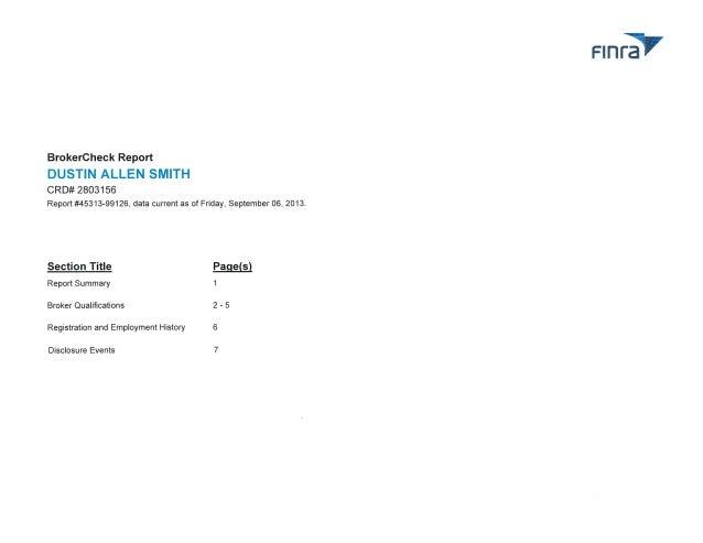 Dustin Allen Smith - FINRA BrokerCheck Report
