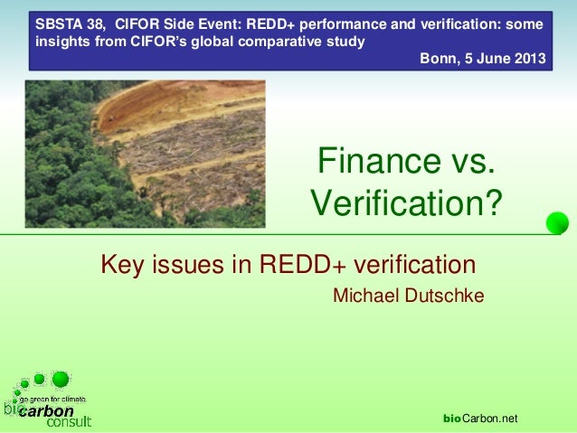 Finance vs. Verification?: Key issues in REDD+ verification