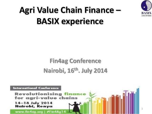Agri Value Chain Finance – BASIX experience