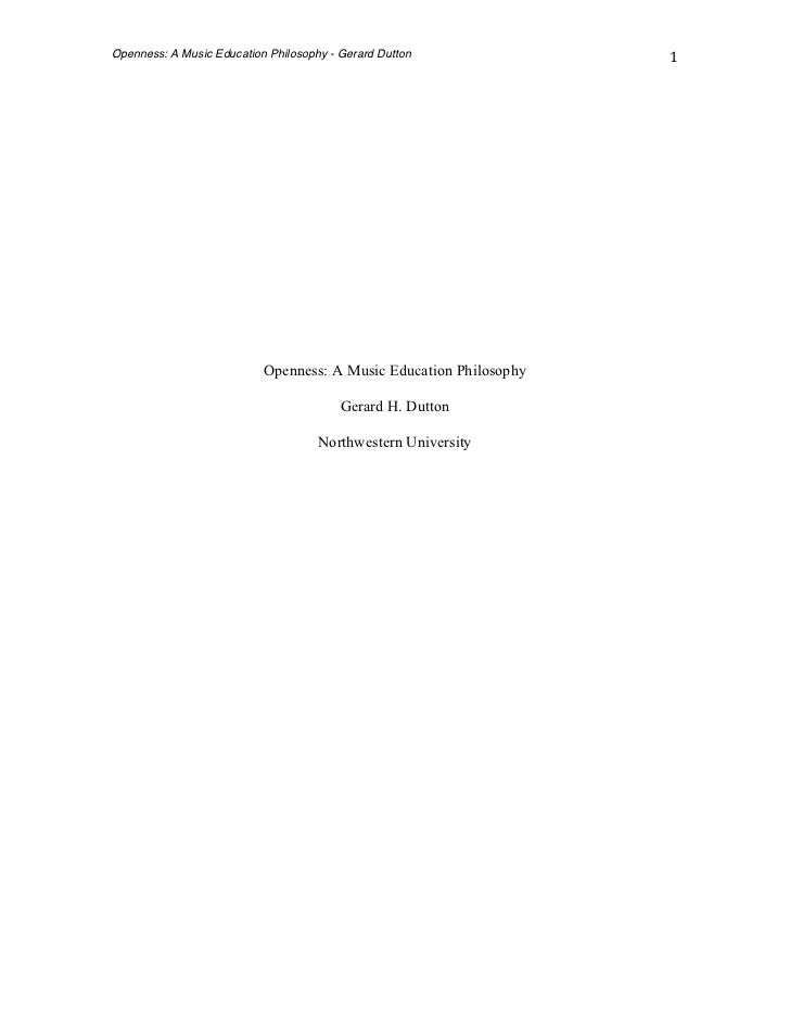 Openness: A Music Education Philosophy - Gerard Dutton               1                            Openness: A Music Ed...