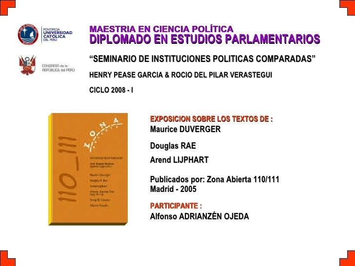 """MAESTRIA EN CIENCIA POLÍTICA   DIPLOMADO EN ESTUDIOS PARLAMENTARIOS """" SEMINARIO DE INSTITUCIONES POLITICAS COMPARADAS"""" HEN..."""