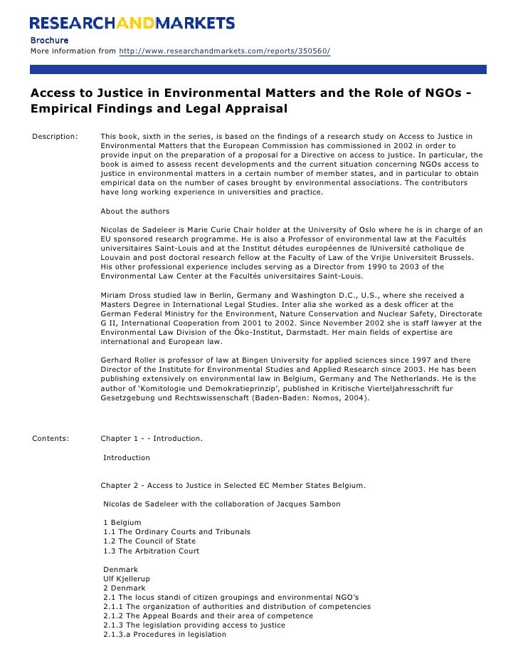Brochure More information from http://www.researchandmarkets.com/reports/350560/     Access to Justice in Environmental Ma...